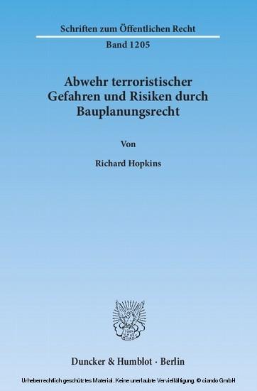 Abwehr terroristischer Gefahren und Risiken durch Bauplanungsrecht. - Blick ins Buch
