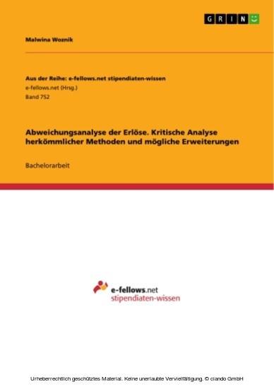Abweichungsanalyse der Erlöse. Kritische Analyse herkömmlicher Methoden und mögliche Erweiterungen - Blick ins Buch