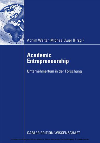 Academic Entrepreneurship - Blick ins Buch