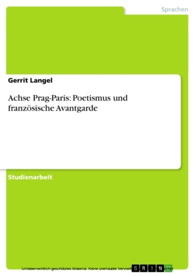 Achse Prag-Paris: Poetismus und französische Avantgarde - Blick ins Buch