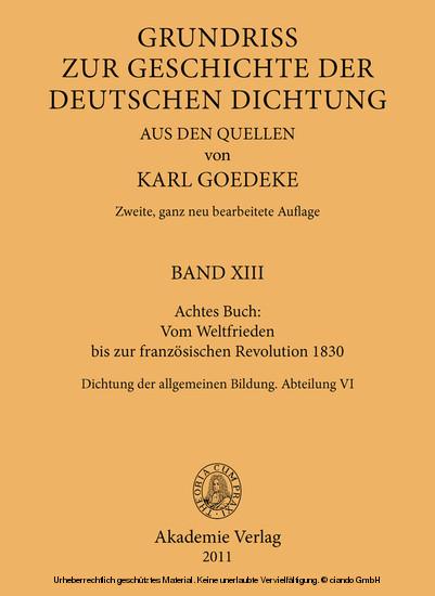 Achtes Buch: Vom Weltfrieden bis zur französischen Revolution 1830 - Blick ins Buch