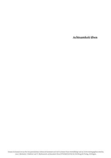 Achtsamkeit üben - Blick ins Buch