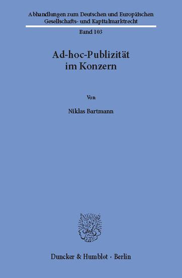 Ad-hoc-Publizität im Konzern. - Blick ins Buch