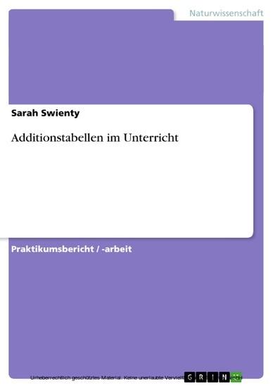 Additionstabellen im Unterricht - Blick ins Buch