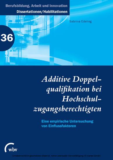 Additive Doppelqualifikation bei Hochschulzugangsberechtigten - Blick ins Buch