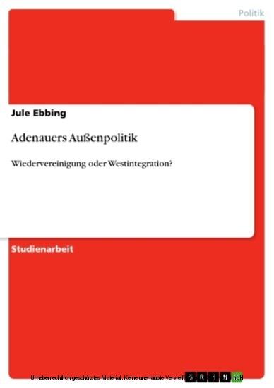 Adenauers Außenpolitik - Blick ins Buch