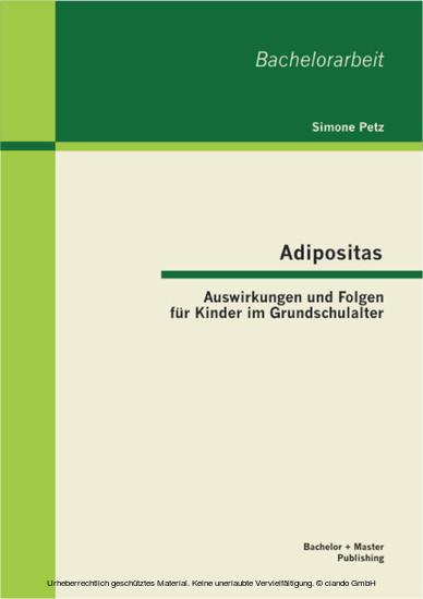 Adipositas: Auswirkungen und Folgen für Kinder im Grundschulalter - Blick ins Buch