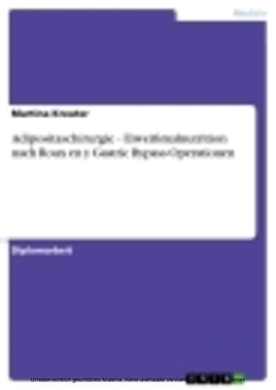 Adipositaschirurgie - Eiweißmalnutrition nach Roux en y Gastric Bypass Operationen - Blick ins Buch
