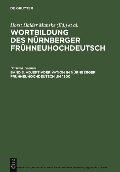 Adjektivderivation im Nürnberger Frühneuhochdeutsch um 1500 - Blick ins Buch