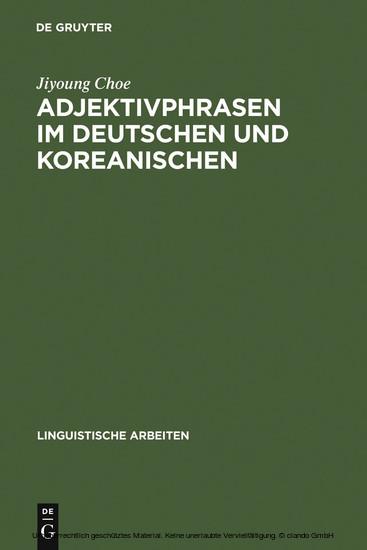 Adjektivphrasen im Deutschen und Koreanischen - Blick ins Buch