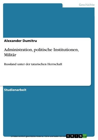 Administration, politische Institutionen, Militär - Blick ins Buch