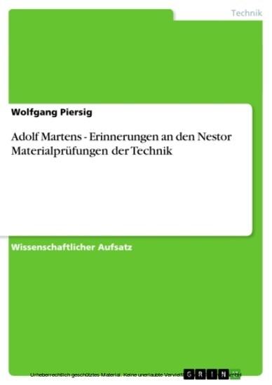 Adolf Martens - Erinnerungen an den Nestor Materialprüfungen der Technik - Blick ins Buch
