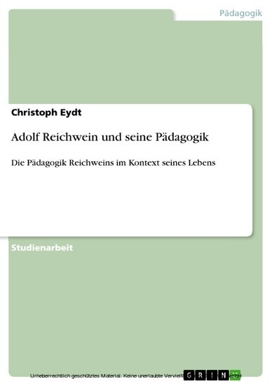 Adolf Reichwein und seine Pädagogik - Blick ins Buch
