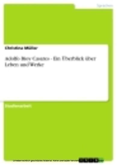 Adolfo Bioy Casares - Ein Überblick über Leben und Werke - Blick ins Buch