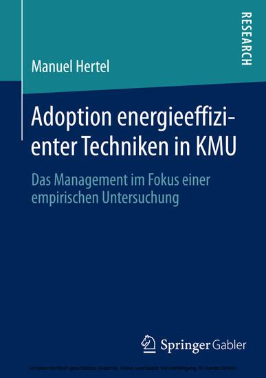 Adoption energieeffizienter Techniken in KMU - Blick ins Buch
