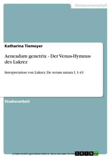 Aeneadum genetrix - Der Venus-Hymnus des Lukrez - Blick ins Buch