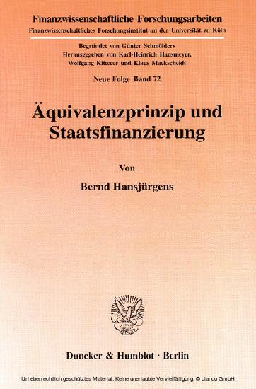 Äquivalenzprinzip und Staatsfinanzierung. - Blick ins Buch