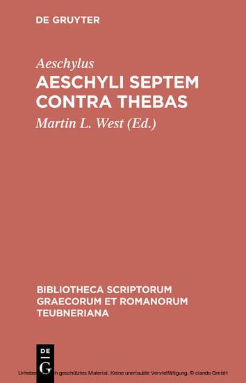 Aeschyli Septem contra Thebas - Blick ins Buch