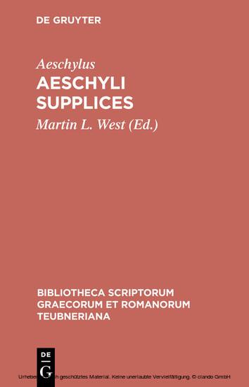 Aeschyli Supplices - Blick ins Buch