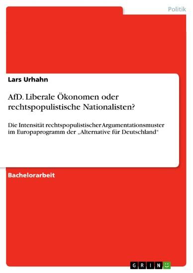 AfD. Liberale Ökonomen oder rechtspopulistische Nationalisten? - Blick ins Buch