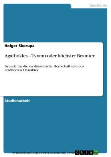 Agathokles - Tyrann oder höchster Beamter - Blick ins Buch