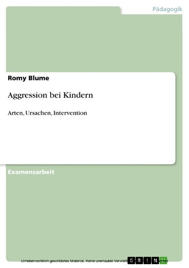Aggression bei Kindern - Blick ins Buch
