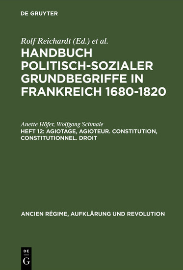 Agiotage, agioteur. Constitution, constitutionnel. Droit - Blick ins Buch