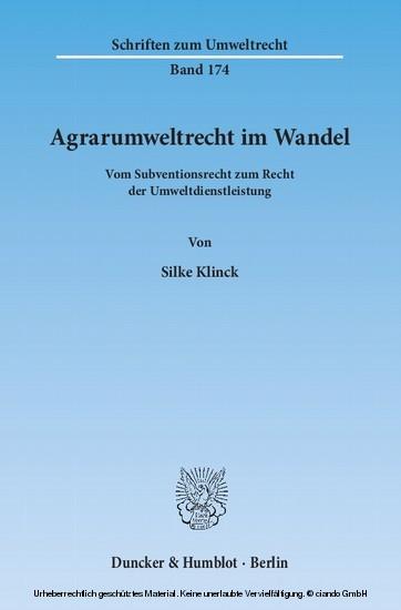 Agrarumweltrecht im Wandel. - Blick ins Buch