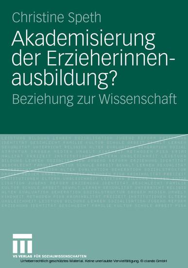 Akademisierung der Erzieherinnenausbildung? - Blick ins Buch