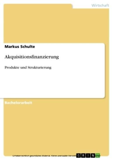 Akquisitionsfinanzierung - Blick ins Buch