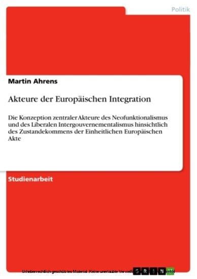 Akteure der Europäischen Integration - Blick ins Buch