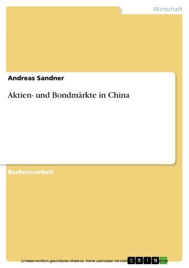 Aktien- und Bondmärkte in China - Blick ins Buch