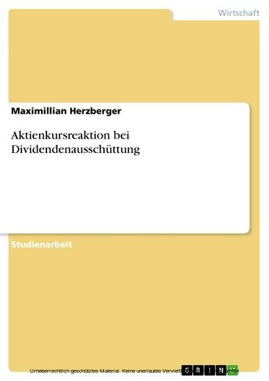 Aktienkursreaktion bei Dividendenausschüttung - Blick ins Buch