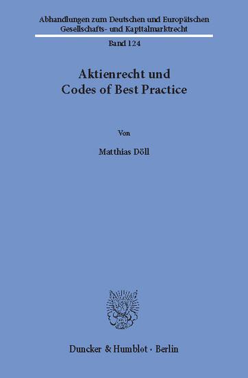 Aktienrecht und Codes of Best Practice. - Blick ins Buch