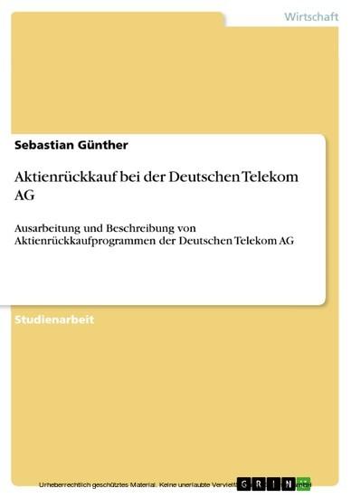 Aktienrückkauf bei der Deutschen Telekom AG - Blick ins Buch