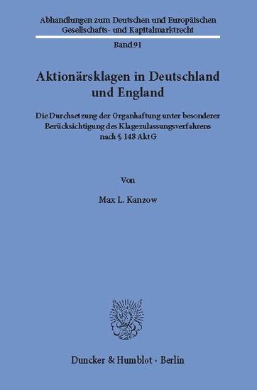 Aktionärsklagen in Deutschland und England. - Blick ins Buch