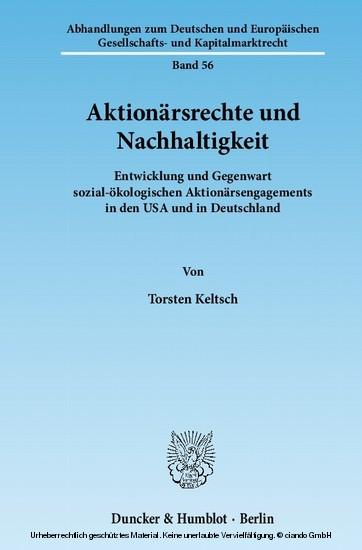 Aktionärsrechte und Nachhaltigkeit. - Blick ins Buch