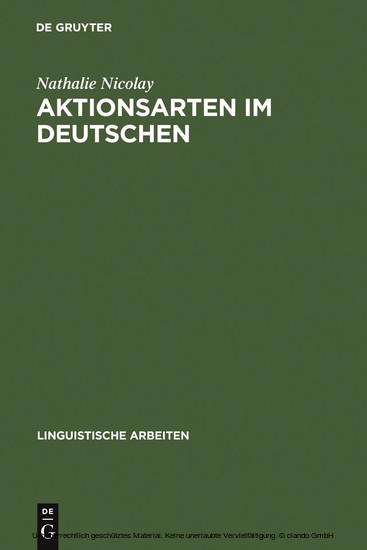 Aktionsarten im Deutschen - Blick ins Buch
