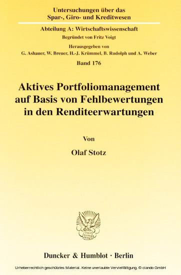 Aktives Portfoliomanagement auf Basis von Fehlbewertungen in den Renditeerwartungen. - Blick ins Buch