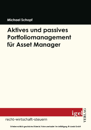 Aktives und passives Portfoliomanagement für Asset Manager - Blick ins Buch