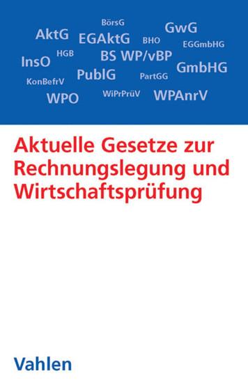 Aktuelle Gesetze zur Rechnungslegung und Wirtschaftsprüfung - Blick ins Buch