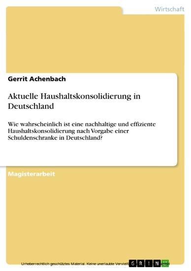 Aktuelle Haushaltskonsolidierung in Deutschland - Blick ins Buch