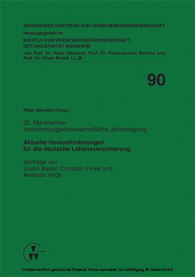 Aktuelle Herausforderungen für die deutsche Lebensversicherung - Blick ins Buch