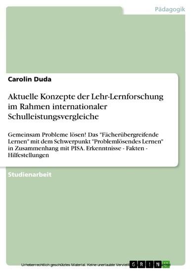 Aktuelle Konzepte der Lehr-Lernforschung im Rahmen internationaler Schulleistungsvergleiche - Blick ins Buch