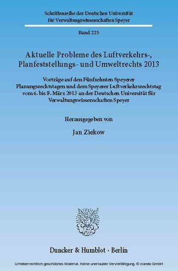 Aktuelle Probleme des Luftverkehrs-, Planfeststellungs- und Umweltrechts 2013. - Blick ins Buch