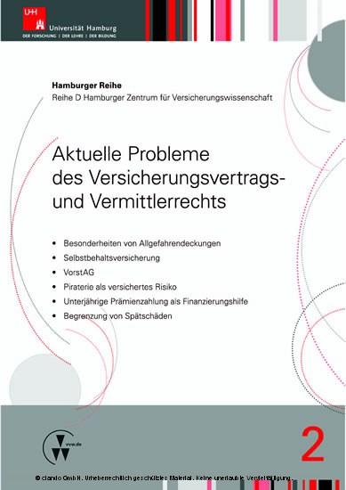 Aktuelle Probleme des Versicherungsvertrags- und Vermittlerrechts - Blick ins Buch