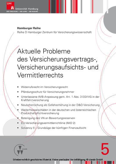 Aktuelle Probleme des Versicherungsvertrags-, Versicherungsaufsichts- und Vermittlerrechts - Blick ins Buch