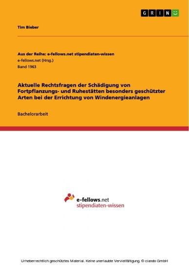 Aktuelle Rechtsfragen der Schädigung von Fortpflanzungs- und Ruhestätten besonders geschützter Arten bei der Errichtung von Windenergieanlagen - Blick ins Buch