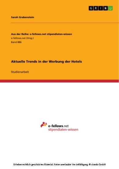 Aktuelle Trends in der Werbung der Hotels - Blick ins Buch