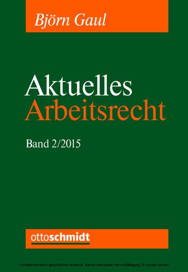 Aktuelles Arbeitsrecht, Band 2/2015 - Blick ins Buch